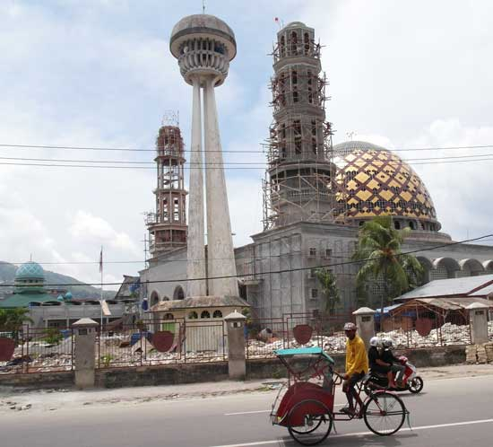 A new mosque being built in the centre of Ambon, a Christian-majority city that often sees outbreaks of religious violence